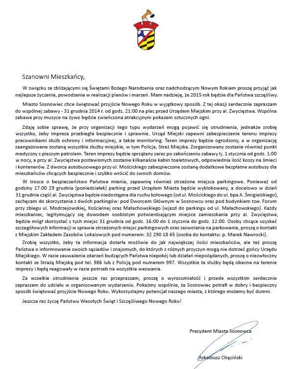 List prezydenta