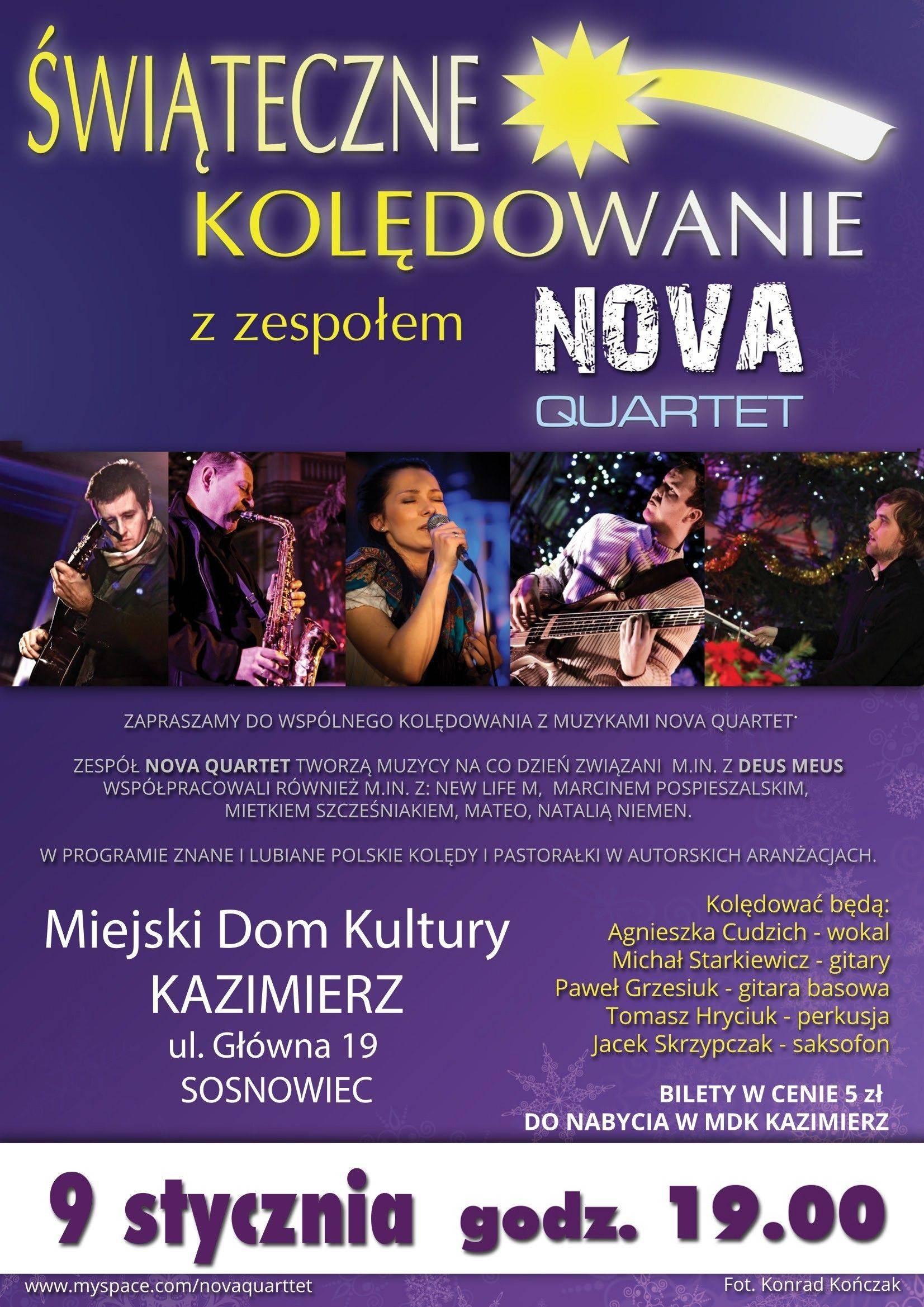 Świąteczne kolędowanie z zespołem Nova Quartet