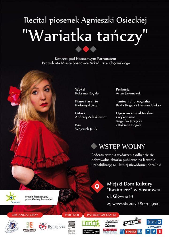 """Bezpłatny recital piosenek Agnieszki Osieckiej """"Wariatka tańczy"""""""