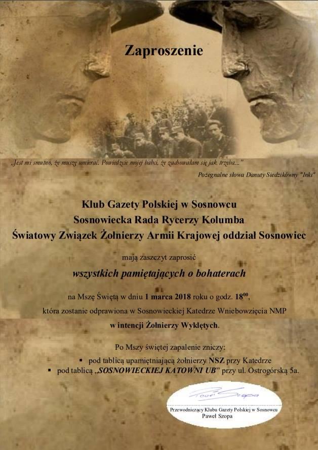 """Obchody Narodowego Dnia Pamięci """"Żołnierzy Wyklętych"""" w Sosnowcu"""