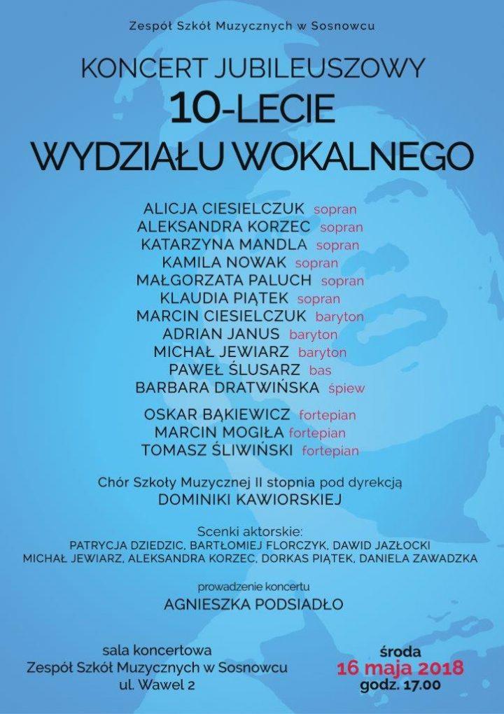 Koncert Jubiuleuszowy na 10-lecie Wydziału Wokalnego