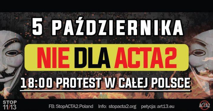 NIE DLA ACTA2 – Polska przeciw cenzurze internetu! #stopACTA2