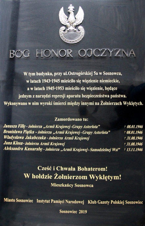 Odsłonięcie tablicy poświęconej Żołnierzom Wyklętym w Sosnowcu, 18 maja 2019